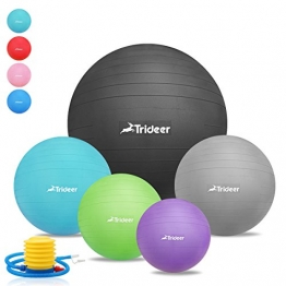 45cm - 85cm Exercise Ball, Birthing Ball, Yoga Swiss Fitness Ball, Natural Birth Maternity Ball, with Anti-slip Matte Surface, Anti-Burst ( 2000lbs ) TRIDEER Extra Thick Core Stability Balance Strength Workout Ball, Body Balance Trainer Balancing Yoga Pilates Swedish Stabilization Ball with Pump Plug Kit, for Pilates, Yoga, Core Cross, Training, Physical Therapy, Work Desk Office, for Men Women Lady(Sizes come in 45cm, 55cm, 65cm, 75cm, 85cm available for your option) (Silver, 85cm) - 1