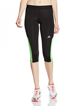 Adidas Women's Infinite Series Tech Fit Capris Tights - Black/Light Flash Green/Matte Silver, Small -