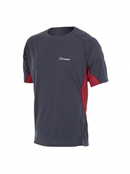 Berghaus Men's Short Sleeve Crew Neck Tech T-Shirt - Carbon/Extreme Red, Large -