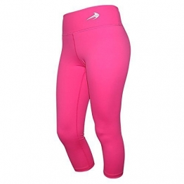 Compression Capri Pants For Women (Pink - M) 3/4 Length Yoga Running Workout Exercise Leggings CompressionZ -