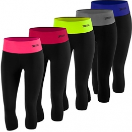 FITTECH PERFORMANCE Women's Thermoactive Running Tights 3/4 Capri Leggings (Black/Blue, L) -