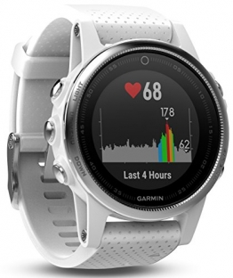 Garmin Fenix 5S Multisport GPS Watch with Outdoor Navigation and Wrist-Based Heart Rate - White with Carrara White Band - 1