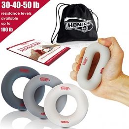 Hand Strengthener Grip Rings 30-100LB - MULTIPLE RESISTANCE LEVELS - Forearm Grip Strength - Quickly Increase Your Hand Strength - Finger Exerciser - Best Hand Exerciser Grip Strengthener (30-40-50 LB) - 1