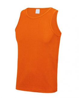 Mens Quick Dry Breathable Sports Running Jogging Fitness Vest (Fluo Orange, L) -