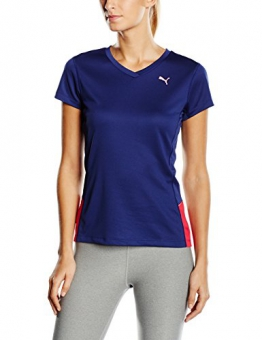 Puma Women's Running Short Sleeve T-Shirt - Blue Print/Virtual Pink, Medium/Size 12 -