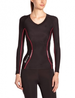 Skins A200 Long Sleeve Women's Compression Top - Black/Pink, M -