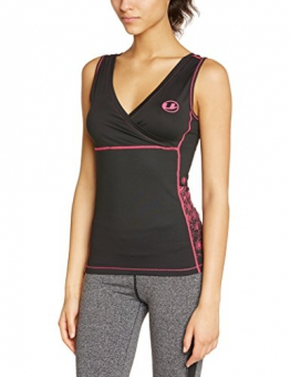 Ultrasport Women's Antibacterial Fitness Shirt with Quick-Dry Function - Black/Pink, Large -