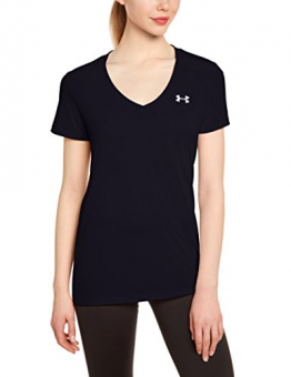 Under Armour Women's Tech V-Neck Solid Short-Sleeve Shirt - Black, Medium -