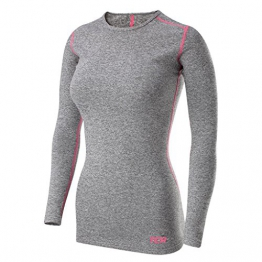 Women's TCA SuperThermal Long Sleeve Performance Base Layer Running Training Top - Marl Grey M -