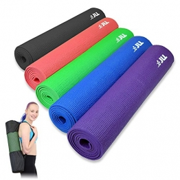 Yoga Mat 183cm x 61cm (72inch x 24inch), 6mm ,Exercise Fitness Workout, Mat Physio Pilates Camping Gym Non Slip with Carry Case (Purple) - 1